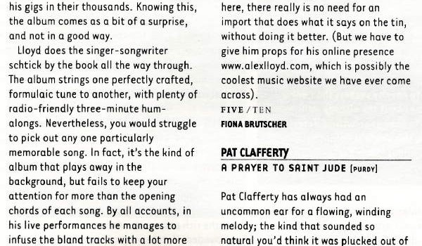 Hotpress Magazine Alex Lloyd album review