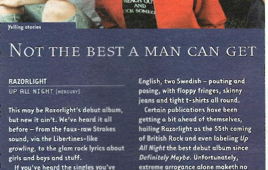 Hotpress Magazine Razorlight album review