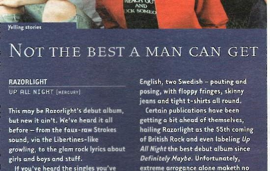 Hotpress Magazine Razorlight album review