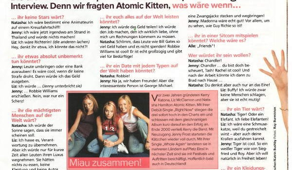 Sugar Magazine, Atomic Kitten interview