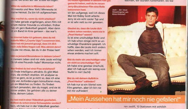 Sugar Magazine, Josh Hartnett interview