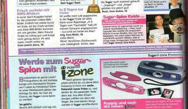 Sugar Magazine, reader feedback page