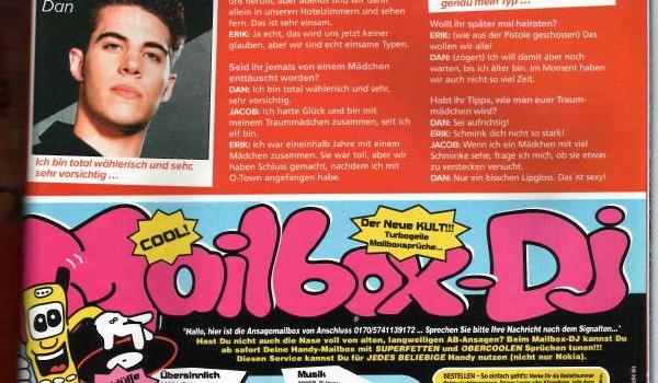 Sugar Magazine, O-Town interview