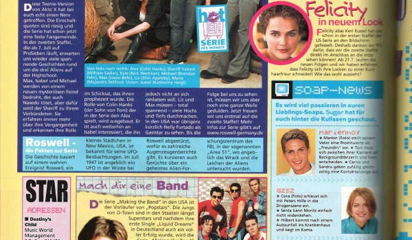 Sugar Magazine, TV page